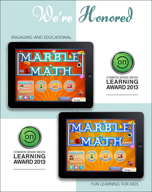 Marble Math Apps Win ON for Learning Awards From Common